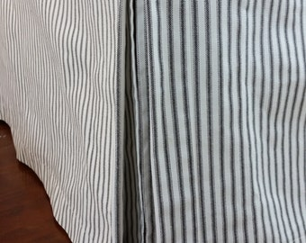 Twin Bedskirt with pleats or slits, navy blue ticking stripe navy blue and ivory