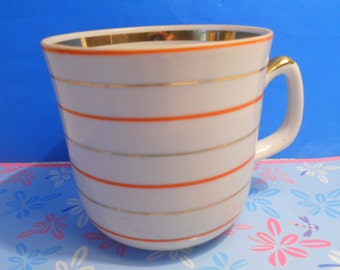 Soviet vintage coffee or tea cup with handle Handpainted cup from USSR Soviet design of 1980-s Vintage Drinkware Verbilki porcelain plant