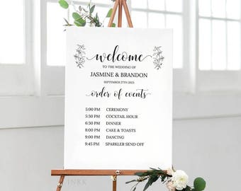 modern marble printable order of events welcome sign template