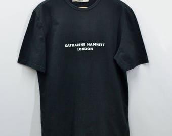 KATHARINE HAMNETT Shirt Vintage Katharine Hamnett London Spell Out Made In Italy Tee T Shirt Size Ladies XL