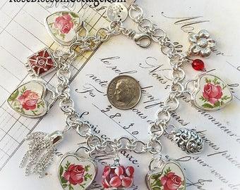 Adoria Broken China Jewelry Charm Bracelet