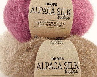 Brushed Alpaca silk yarn! Garnstudio DROPS Design Brushed Alpaca silk 67% baby alpaca 23 mulberry silk fluffy knitting wool - 25 grams