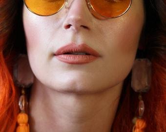 60's 70's round orange yellow lense John Lennon sunglasses with gold frames hippie
