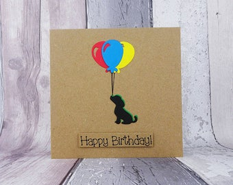 Puppy birthday card, Spaniel puppy card, Beagle or Labrador, Birthday balloons card, Happy Birthday card, Handmade birthday card, Dog card