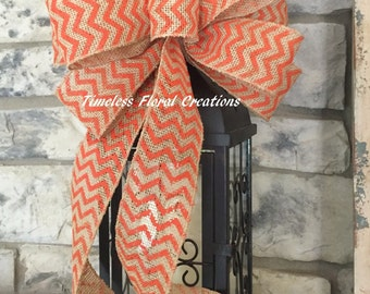 Fall~Chevron Orange ~Wired Edge Ribbon Bow for Wreath, Swag, Lantern~Timeless Floral Creations~Free Shipping