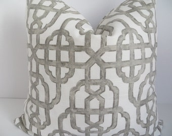 Gray And White Pillow- 20x20 - Decorative Pillow- Gray Pillow Cover- Geometric Pillow Cover- White Pillow- Accent Pillow-  Home Decor