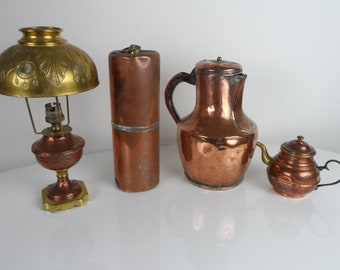 Set of 4 items in antique copper go brothers pitcher, lamp, bottle, teapot 19th