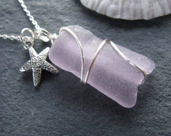 Sea Glass Jewelry Purple Sea Glass Pendant Soft Lilac Beach Glass Necklace with starfish charm