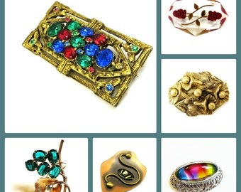 Vintage Brooch Box, Brooch of the Month, Jewelry Subscription Box, Mystery Box, Monthly Box, Vintage Jewelry, Vintage Pins, Antique Jewelry