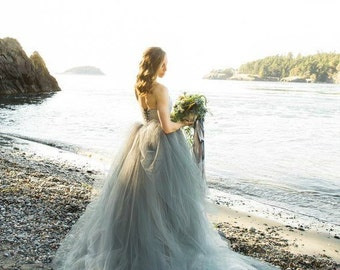 Tulle Wedding Dress, Strapless lace with Tulle Skirt, Train, TULA, Gray, Black, White, Ivory, Blue FREE SHIPPING!