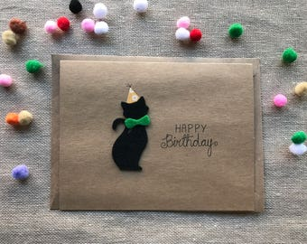 Cat card, Birthday card in felt and kraft paper greeting card