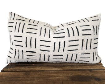 """Ivory Mudcloth Pillow Cover, 12"""" x 20"""" Authentic African Mudcloth"""