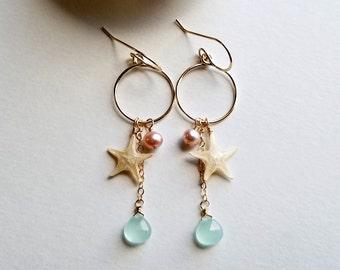 Tiny Starfish Hoop Earrings, Real Starfish Hoops, Pink Mint Beach Hoops