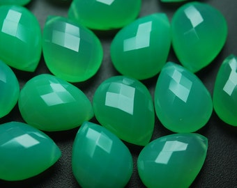 2 Matched pairs,Chrysoprase Chalcedony Faceted Pear Shape Briolettes 12x16mm
