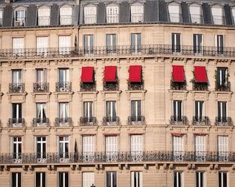 Paris Photo - Red Awnings, Paris decor, Architectural Fine Art Photograph, Urban Home Decor