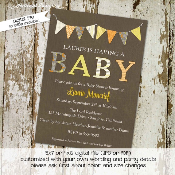 b is for baby invite kraft paper rustic chic bunting banner invite rustic baby girl shower invitation co-ed baby shower 142 Katiedid Designs