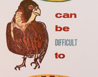 Large Bird Woodcut and Letterpress poster-Intrusive Thoughts
