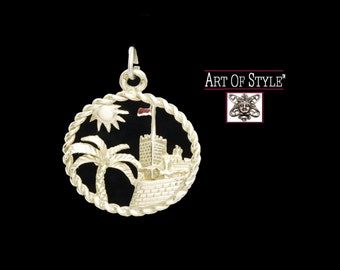 PRINCE'S PALACE MONACO 18k Gold Charm or Pendant - European - International - Travel Memento - Stylish Souvenir