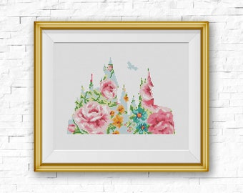 BOGO FREE! Hogwarts Cross Stitch Pattern, Floral Hogwarts Castle Silhouette Counted xStitch, Modern Home Decor, PDF Instant Download #025-30