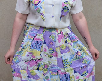 Vintage skirt and blouse set, 1980s