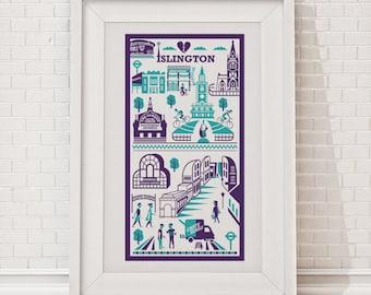 Islington Print   London illustration   North London art   Islington illustration   N1 print   EC1 print   London gift   Art print