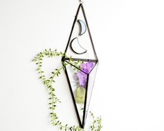 Wall Art Prism, Hanging planter, Wall Decor, Vertical Garden, Two Moons, Glass Geometric Plant Holder, Glass Terrarium