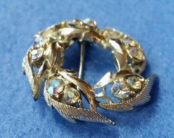 Vintage Rhinestone Leaf Brooch Pin, large gold tone wreath with iridescent rhinestones, vintage brooch, rhinestone brooch