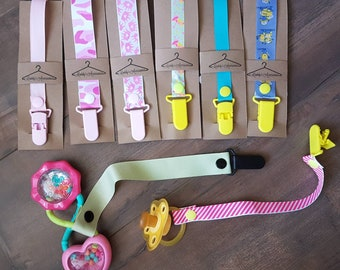 Handmade soother saver - ribbon pacifier clip - baby girl accessories