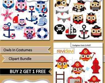 Owl clipart bundle sale / Owls in costumes commercial use clip art / nautical sailor, pirate, firefighter / owl digital images