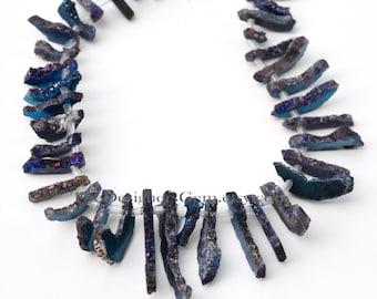 Midnight Metallic Blue Purple AB Crystal Quartz Druzy Top Drilled Sticks 13 x 4mm to 57 x 4mm -1/2 Strand