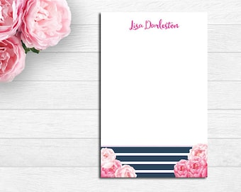 Pink Peony, Navy Stripe Personalized Notepad, Note Pad, Memo Pad, Stationery, Monogram Note Pad, Office Stationery, Teacher Gift, Graduation