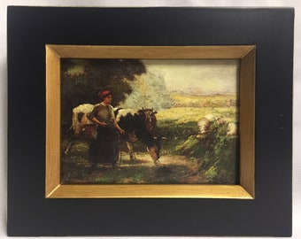 "Framed Oil Painting 8""x 10"" Country Girl"