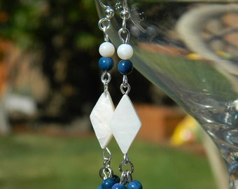 Nautical Shell Earrings - Coral, Mother of Pearl, Beach Jewelry, Blue and White, Dangle