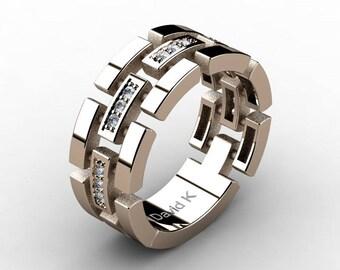 Mens Modern 14K Rose Gold Diamond Wedding Band B2006-14KRGD