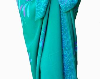 PLUS SIZE Clothing Dragonfly Sarong Dress Beach Wrap Skirt - Batik Plus Size Sarong - Aqua Green & Purple Beach CoverUp - Plus Size Swimwear
