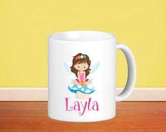 Fairy Kids Personalized Mug - Fairy Girl Sitting on Mushroom with Name, Child Personalized Ceramic or Poly Mug Gift