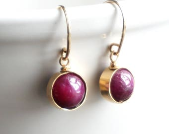 Ruby Gold Earrings, Genuine Ruby Earrings, July Birthstone, Nickle Free Earrings , Red Gemstone Earrings, Gold Ball Earrings