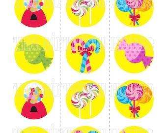 INSTANT DOWNLOAD - PRINTABLE Sweet Shop Party Rounds - Assorted Lollipop Cupcake Toppers by The Birthday House