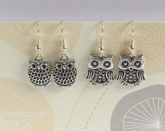 Silver Owl Earrings, Bird Earrings, Miniature Owl Jewelry, Silver Plated Or Sterling Silver Ear Wires