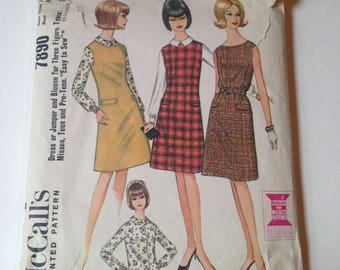 Vintage McCall's 7890 Sewing Pattern Jumper And Blouse Easy to Sew Size 10-12 Bust 30-32