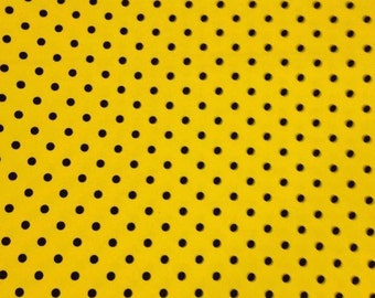 Yellow with black dots 1 yard cotton lycra knit