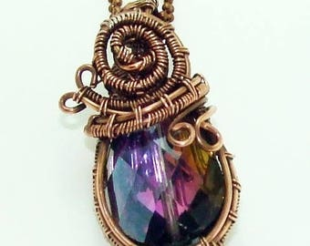 """140 pendant / in """"Udine"""" copper / wire with / crystal / faceted / multicolorWire / Wrapped pendant / wire wrapped jewelry / boho bohemian"""