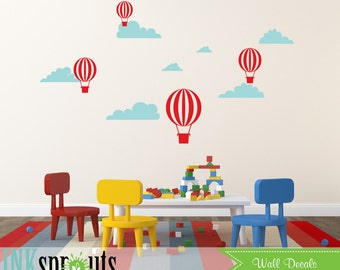 Hot Air Balloon Decal, Oh the places you'll go, air balloons decal, Clouds, Simple, Modern Nursery, Nursery decals, Baby Decals,