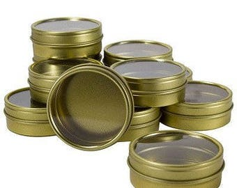 Gold Metal Steel Tin Flat Containers with Tight Sealed Clear Lids - 2 oz (12 pack ) ***FREE SHIPPING***