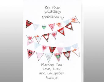 Wedding Anniversary Hearts Bunting Card WWWE83