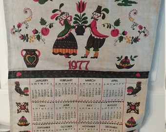 Vintage 1977 Linen Towel Calendar