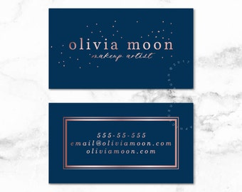 Navy Business Card Design Business Card Graphics Rose Gold Business Card
