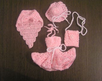 Crochet hand made Pink/White, bag, hat and shawl color Barbie dress