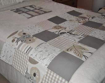 Bed Runner Handmade Patchwork Double Bed Runner, Patchwork Quilted Bed Runner in Grey Cream beige, Clark & Clark Laura Ashley Fabrics, SALE