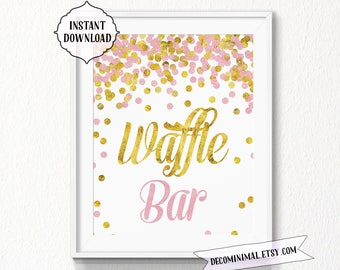 Waffle bar Sign, 11x14, 8x10, gold, pink, INSTANT download, Printable, Digital, waffle sign, waffle bar sign, glitter sign, gold, pink